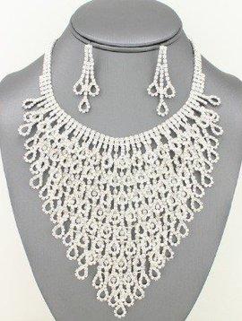 Rhinestone Cascade Necklace Set