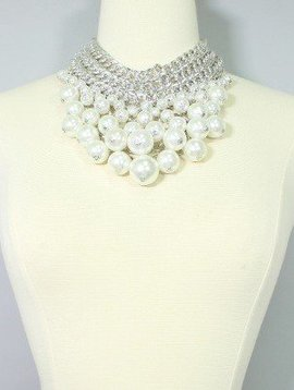 Statement Pearl Armor Bib Necklace Set, WHITE
