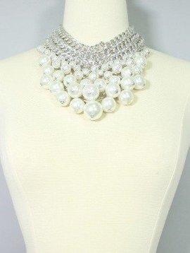 Statement Pearl Armor Bib Necklace Set, WHITE