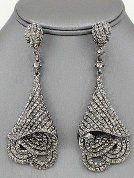 Crystal Woven Drop Earrings Hematite