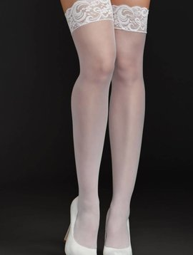 iCollection iCollection Fishnet Thigh Highs w/ Lace Top White