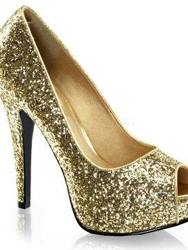 Gold Heel Glitter Peep Toe Pump