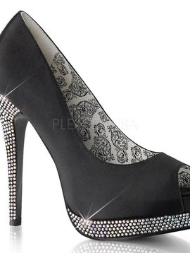 Black Satin Rhinestone Pump