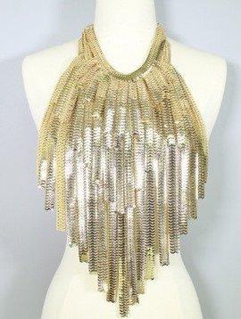 Layered Metal Fringe Body Bib Necklace Gold