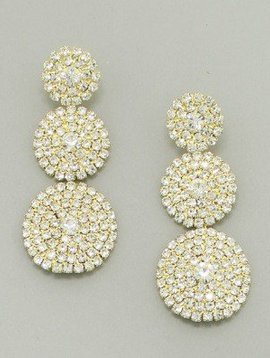 Rhinestone Earrings Clear-Gold
