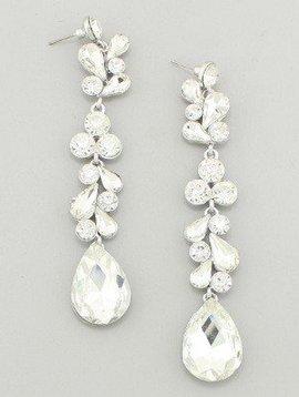 Pageant Crystal Drop Earrings Clear-Silver