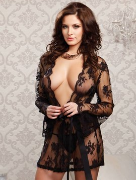 Sheer Lace Robe Black