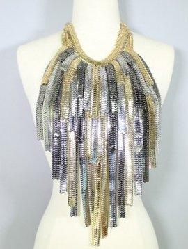 Layered Metal Fringe Body Bib Necklace Gold-Silver
