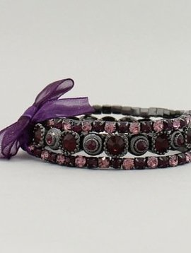 Crystal Stackable Bracelet Set Purple