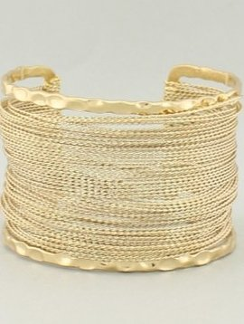 Woven Metal Thread Cuff Gold