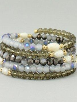 Glass Beaded Coil Bracelet Black Diamond