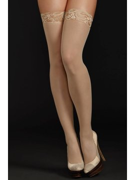 Sheer Thigh Highs W/ Lace Top Nude