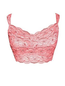 Lace Overlay Modal Bralette Coral