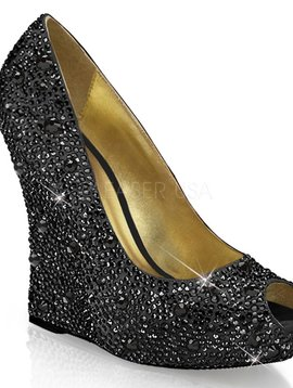 Black Sequin Wedge