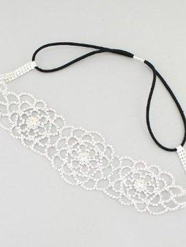 Flower Bridal Head Band Silver