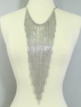 Fringe Choker Necklace Silver