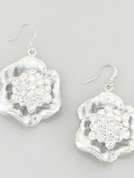 Rhinestone Flower Earrings Silver