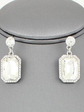 Emerald Cut Drop Earrings
