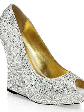 Silver Sequin Wedge