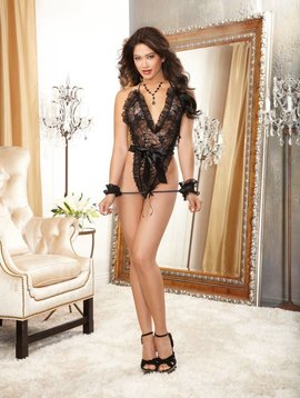 Dreamgirl Lace Teddy Black