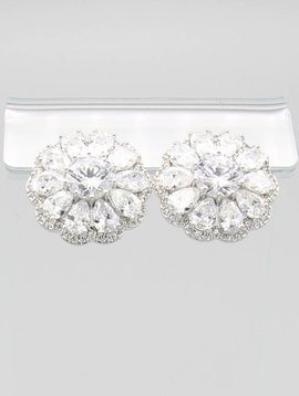 Flower Stone CZ Earrings