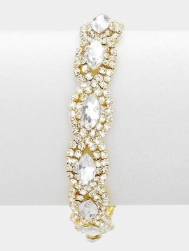 Marquise Point Pave Rhinestone Evening Bracelet