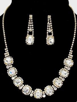 Glass Rhinestone Collar Necklace Set