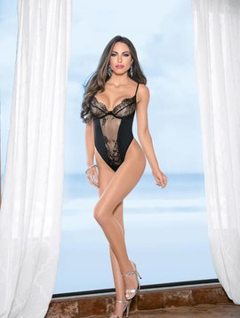 Escante Black Fishnet and Lace Teddy
