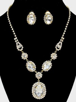 Rhinestone Monarch Necklace With Clip Earrings