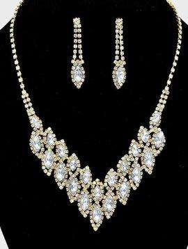 Rhinestone Leaf Collar Necklace