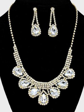 Rhinestone Teardrop Collar Necklace