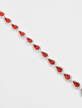 Red Teardrop Link Bracelet