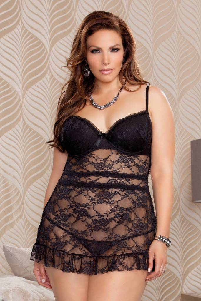 iCollection Black Lace Babydoll