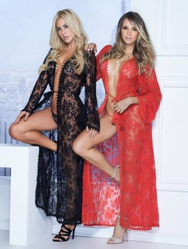 Mapale Long Lace Robe and G-String