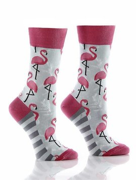 WOMEN'S CREW SOCK, PINK FLAMINGO