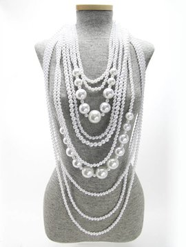 LAYERED LONG PEARL STRANDS NECKLACE SET