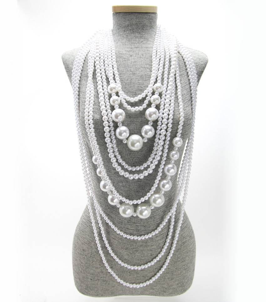 layered long pearl strands necklace set angie davis