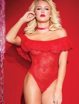 Coquette RED RUFFLE TEDDY