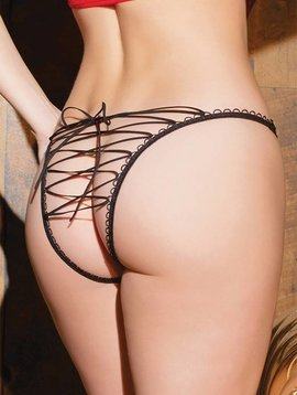 Coquette LACED UP CROTCHLESS PANTY