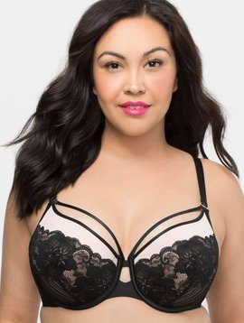 Curvy Couture TULIP STRAPPY LACE PUSH UP - PLUS SIZE BRA