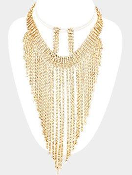Pave Crystal Rhinestone Fringe Marquise Necklace