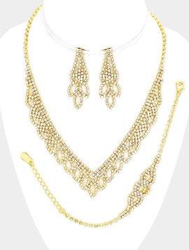 Rhinestone V Collar Necklace 3-Piece Set