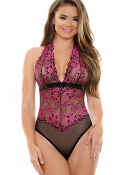 Fantasy SHERRY TWO TONE LACE HALTER TEDDY
