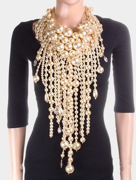 MULTI LAYERED CHUNKY PEARL FRINGE COLLAR BIB NECKLACE