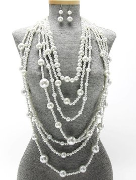 LONG MULTI-STRAND PEARL NECKLACE SET