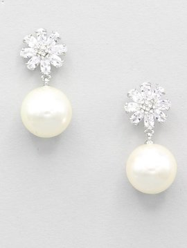CZ STONE FLOWER PEARL DROP EARRINGS