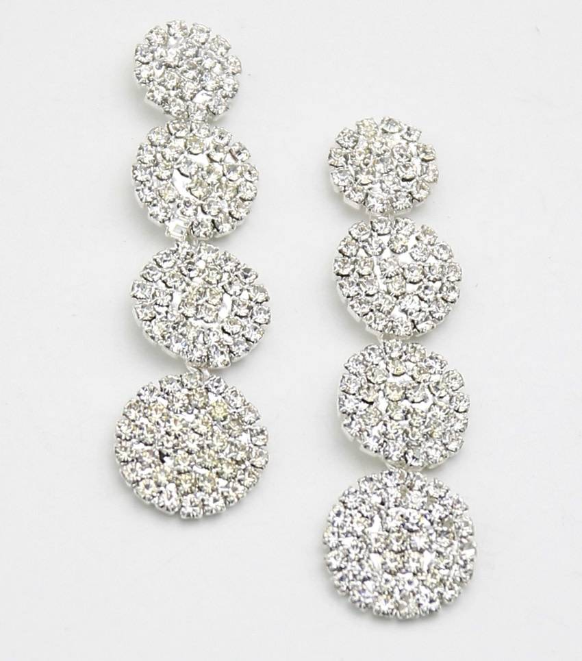 RHINESTONE DISC DROP EARRINGS