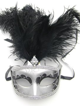 GLITTERED MARQUIS FEATHER MASQUERADE MASK