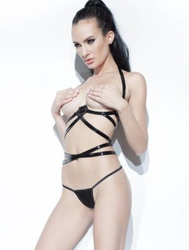 Coquette WET LOOK STRAPPY CUPLESS BRA
