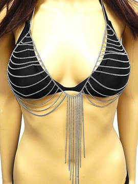 Bra Jewelry Layered Chain With Fringe